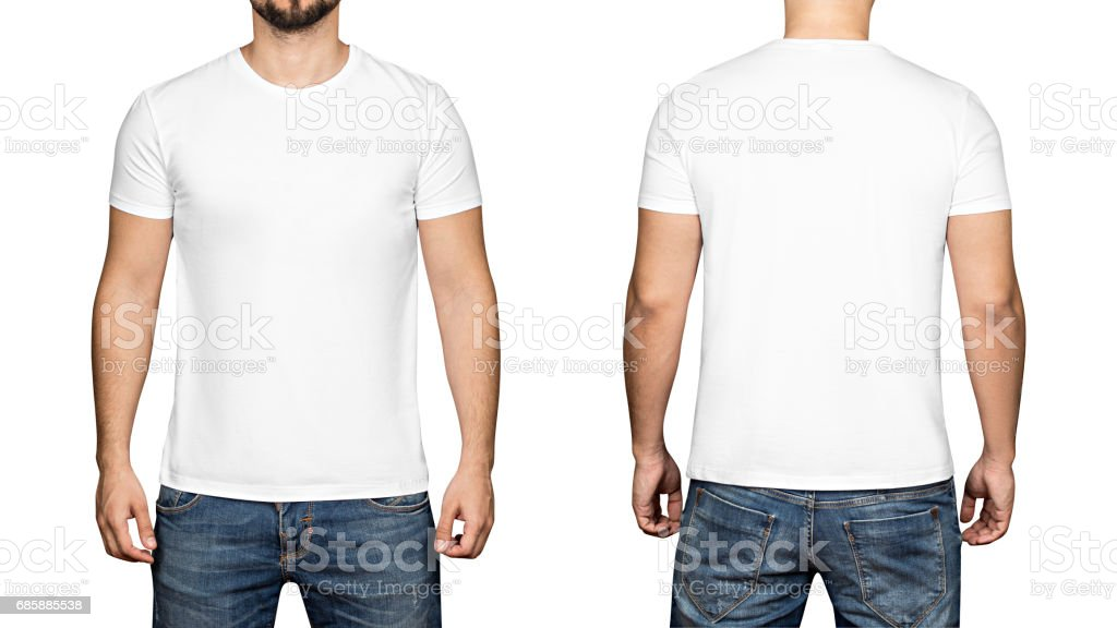 White t-shirt on a young man white background, front and back stock photo