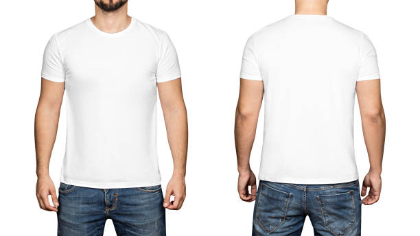 white t-shirt on a young man white background, front and back - t shirt stock photos and pictures