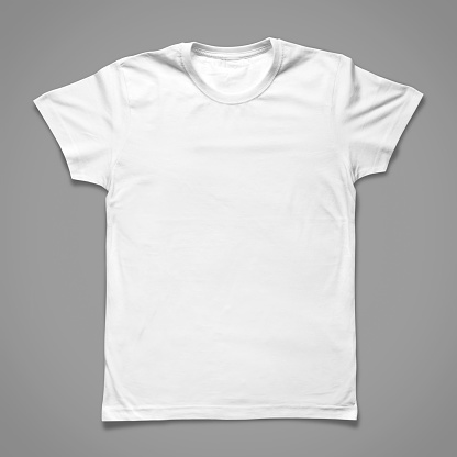 White T-Shirt whit Clipping Path, isolated on grey background.