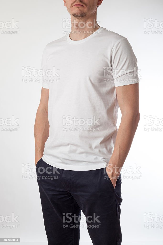 White t-shirt template ready for your graphic design. stock photo