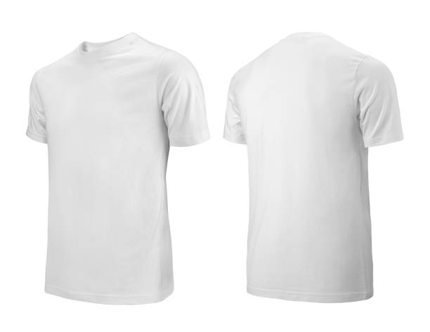 white t-shirts front and back side view used as design template. - teeshirt template imagens e fotografias de stock