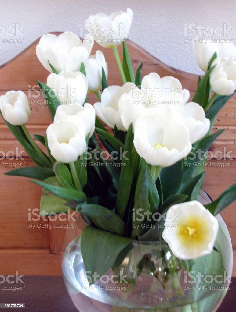 Witte tulpen in kom op Pine stilleven - Royalty-free Bloem - Plant Stockfoto
