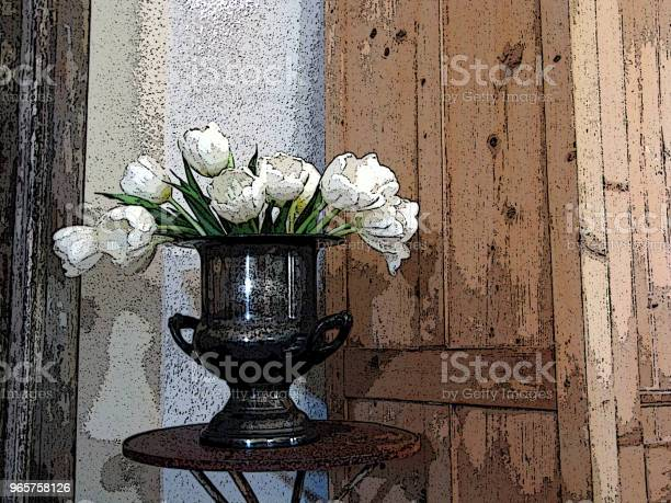 White Tulips In Silver Bowl Still Life Stock Photo - Download Image Now