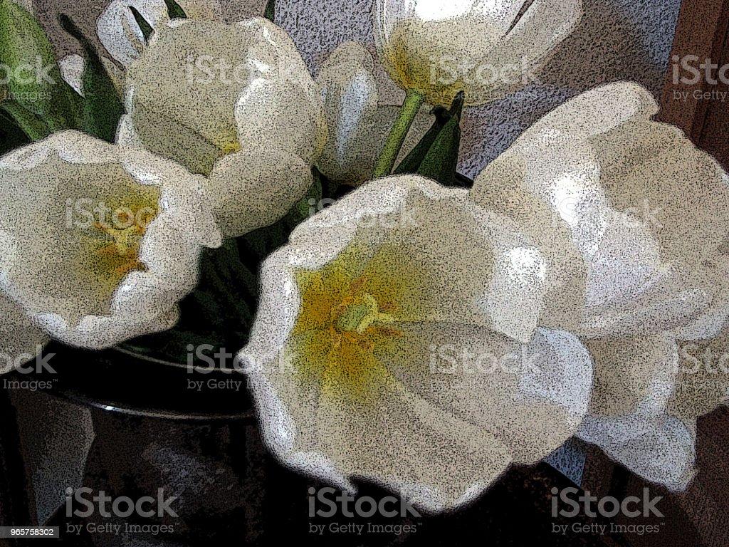 Witte tulpen in zilver kom stilleven - Royalty-free Bloem - Plant Stockfoto