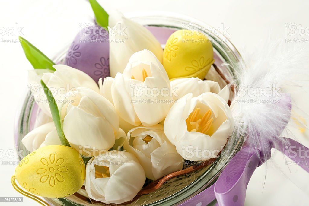 white tulips with easter egg royalty-free stock photo