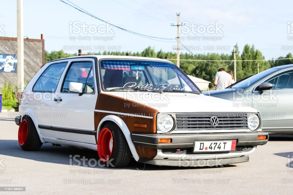 White tuned in Stance style Volkswagen Golf mk 1. Low car with wide...