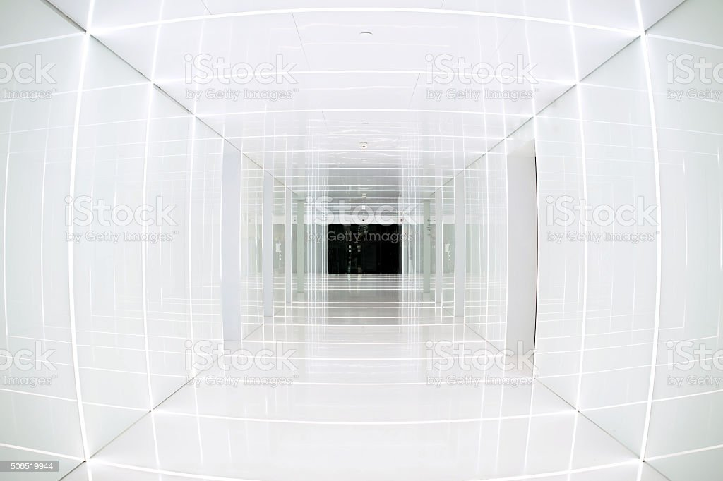 White tunnel in an indoor empty architectural space stock photo