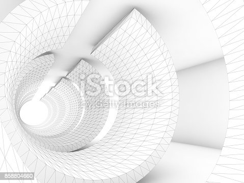 istock White tunnel with 3d wire-frame structure 858804660
