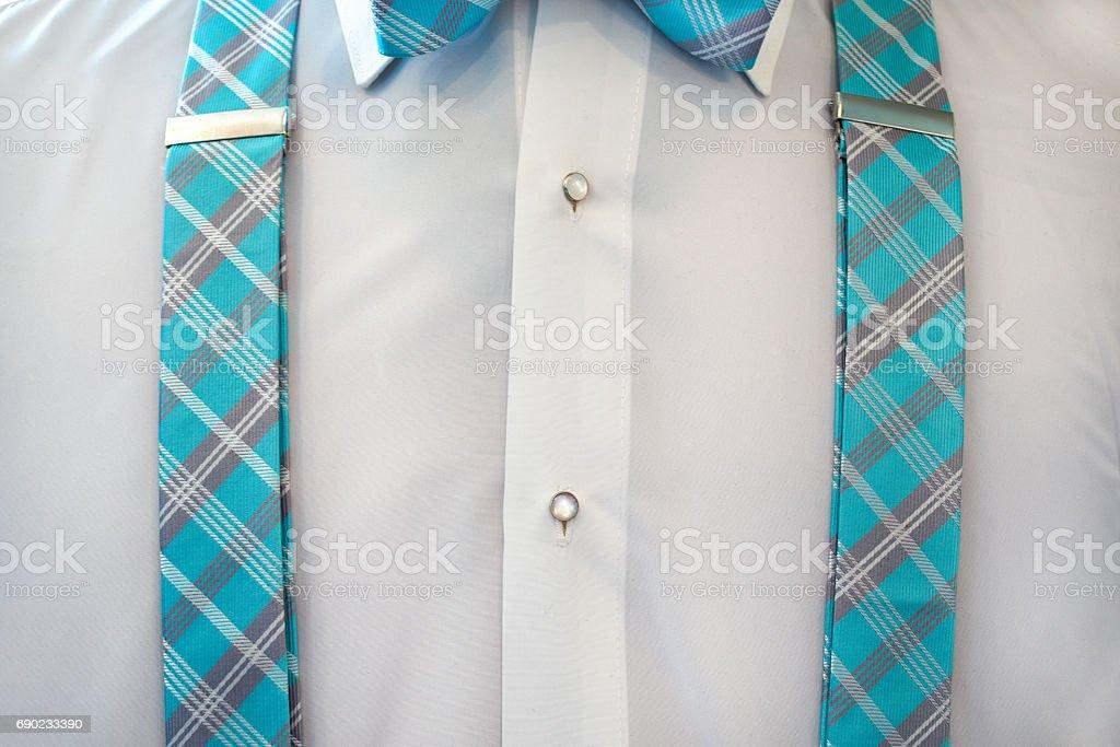 white tuxedo shirt with suspenders - Photo