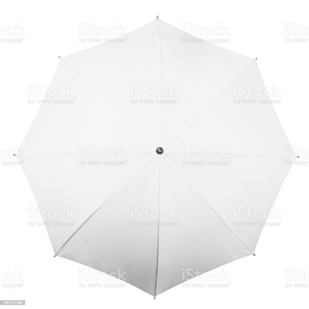 White umbrella on white background stock photo