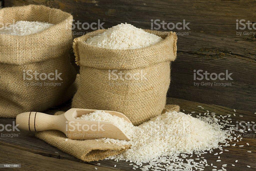 White uncooked rice stock photo