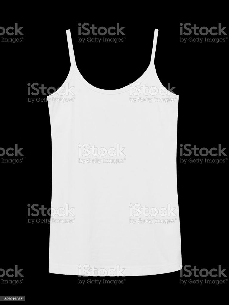 White underwear sleeveless empty summer t shirt camisole isolated on black stock photo