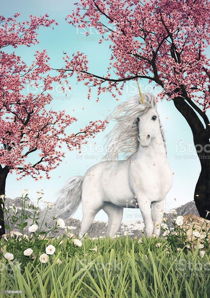 White Unicorn Amongst Cherry Trees stock photo