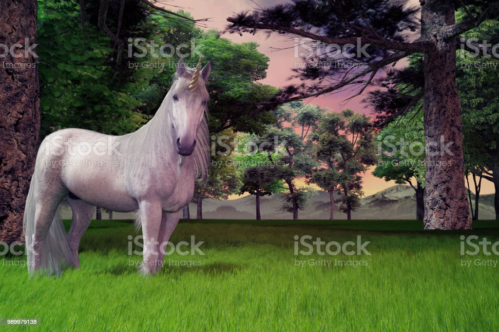 White unicorn standing in long grass with trees and beautiful sky, 3d render. stock photo