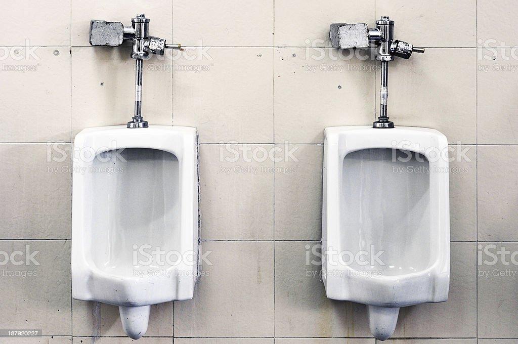 White urinals stock photo