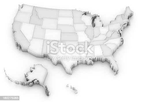 istock White USA map with states (also Alaska and Hawaii) 185275085