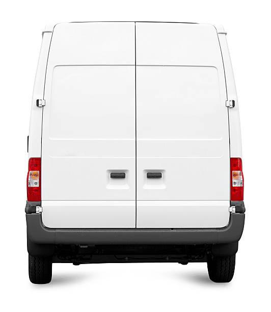 isoliert leere weiße van/transporter hecktürmodell seite auf weiß - van stock-fotos und bilder