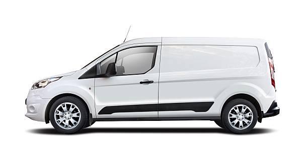 weißer kleinbus, isoliert auf weiss - van stock-fotos und bilder