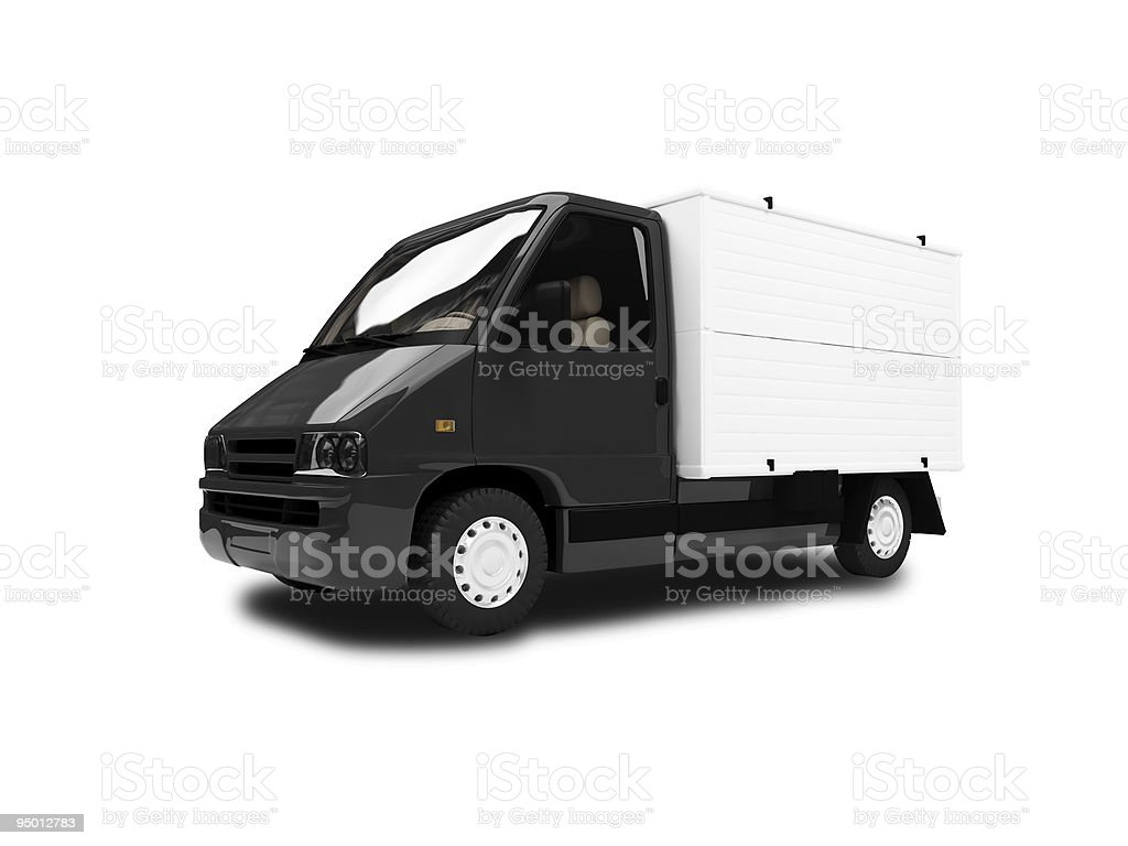 White Van isolated view stock photo