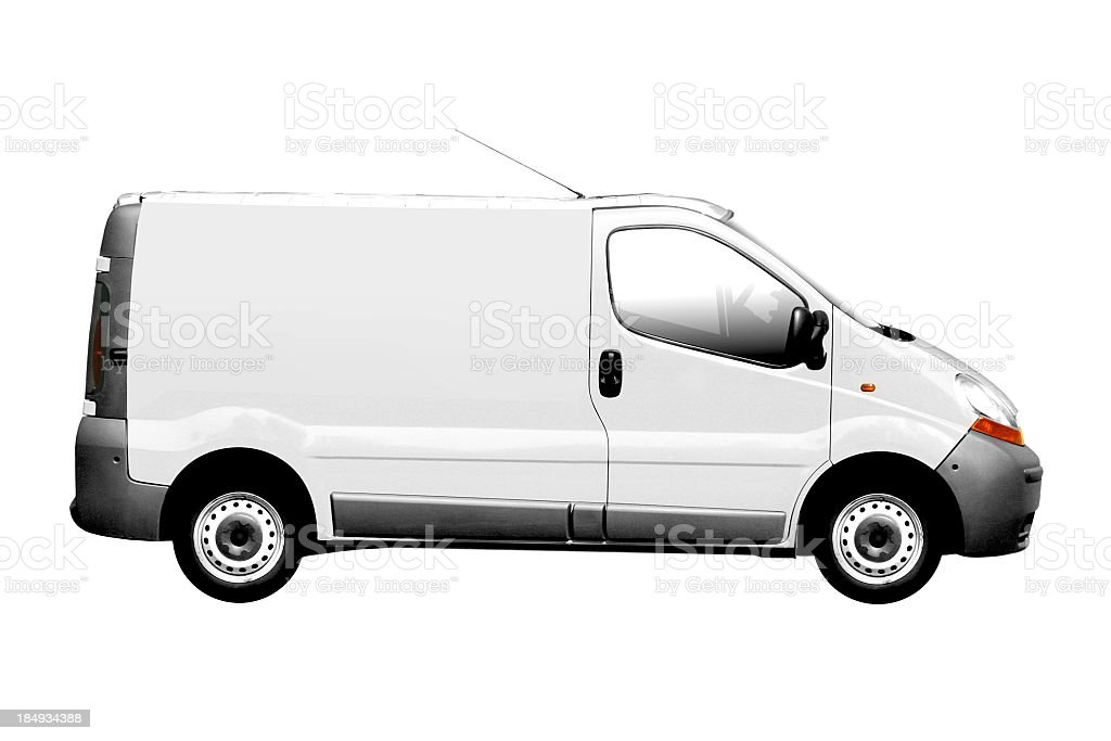 White van with top antennae and no decals royalty-free stock photo