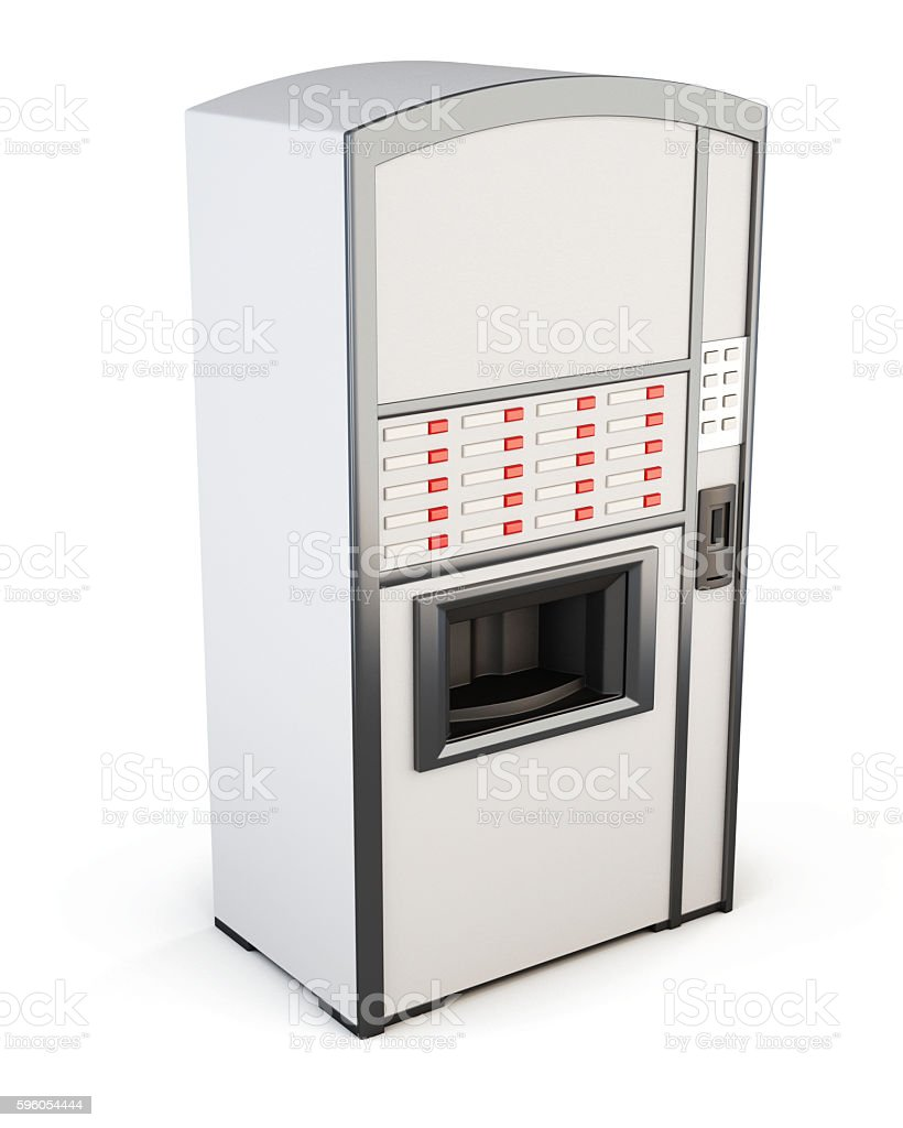 White vending machine for drinks and snacks on a white royalty-free stock photo