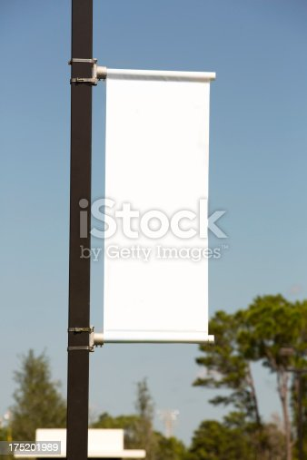 istock White vertical Banner against a Blue Sky 175201989