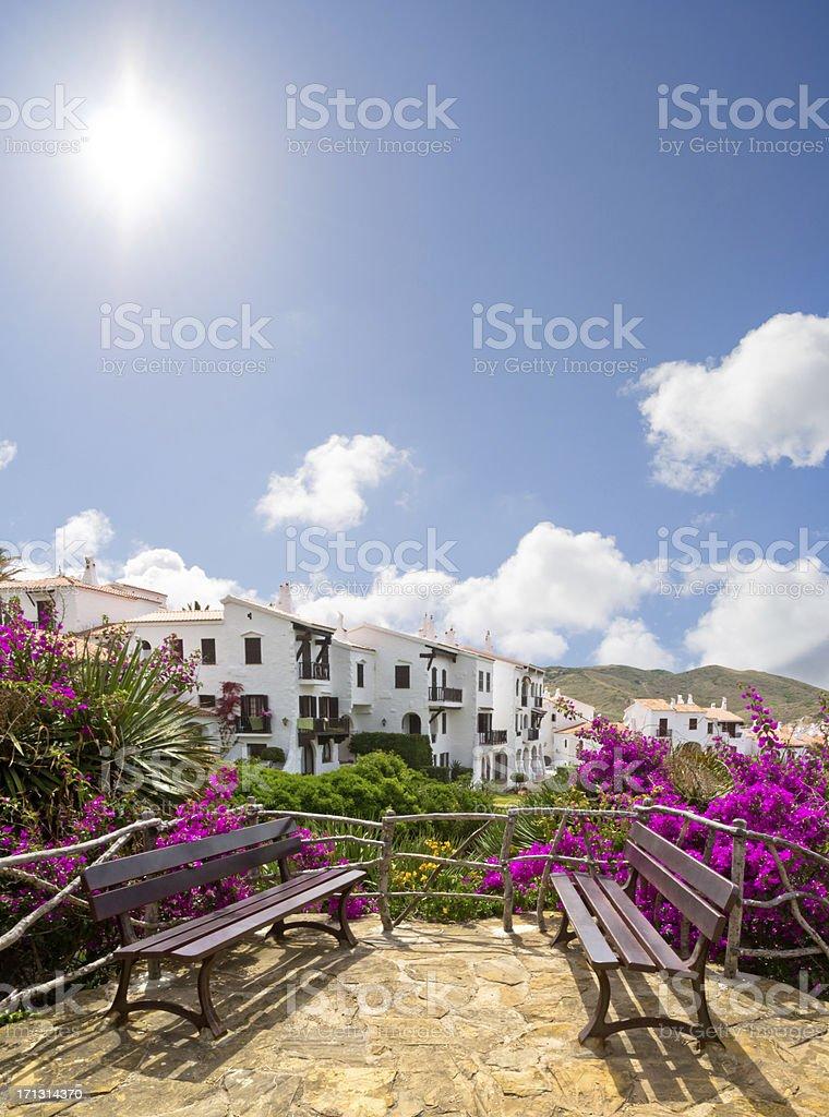 White village in Spain. Sunny day. stock photo