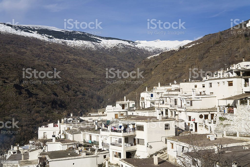 White villages in Albujarra, Sierra Nevada, Andalusia, Spain stock photo