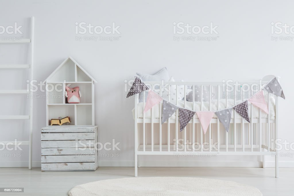 White, vintage baby furniture set stock photo