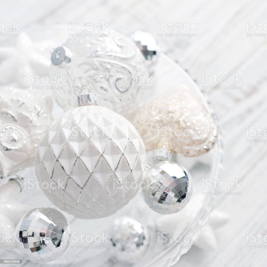 White vintage christmas balls 免版稅 stock photo
