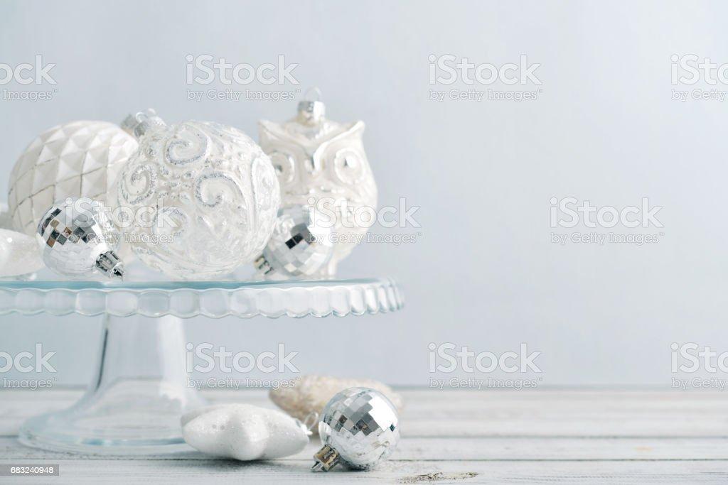 White vintage christmas balls royalty-free 스톡 사진