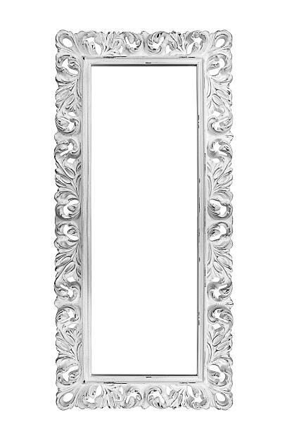 Weiße vintage frame, isoliert auf weißem Hintergrund – Foto