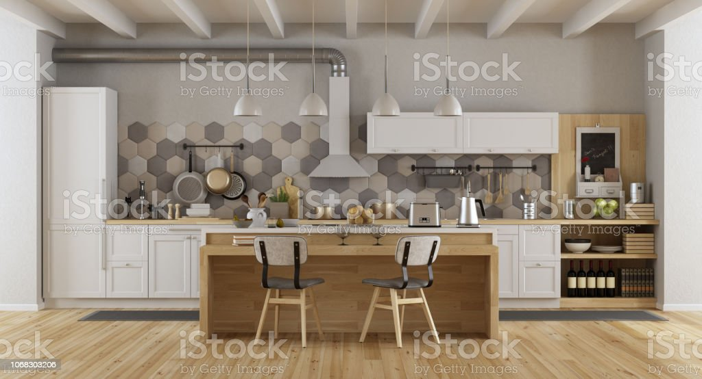 Vintage white and wooden kitchen with island and chairs - 3d...