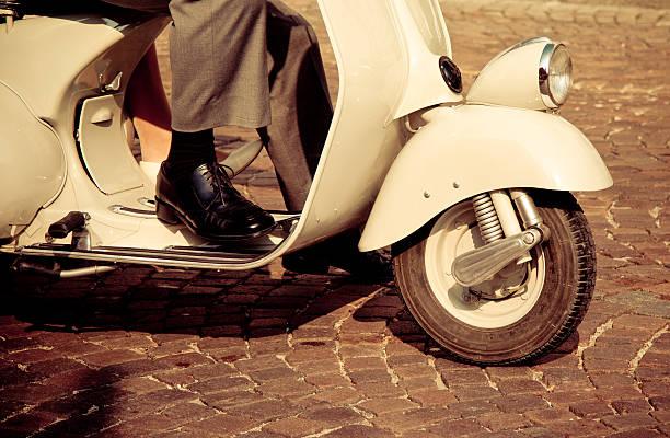 White vintage scooter stock photo