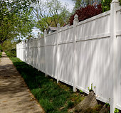Springtime shadows on perspective view of white vinyl fence.