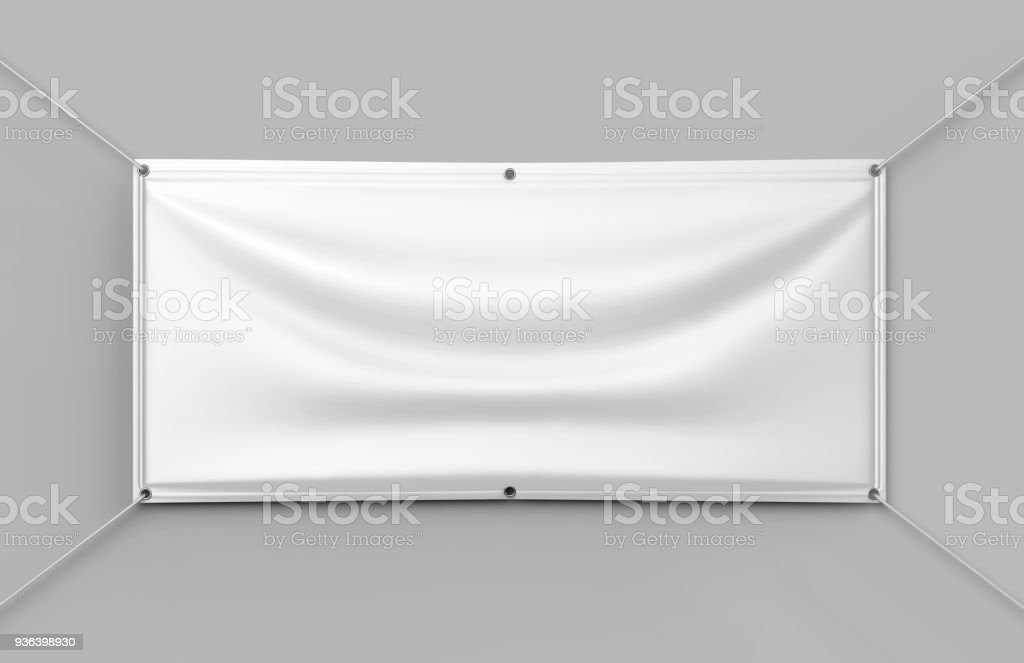 White Vinyl Horizontal Banner. 3d render illustration. stock photo