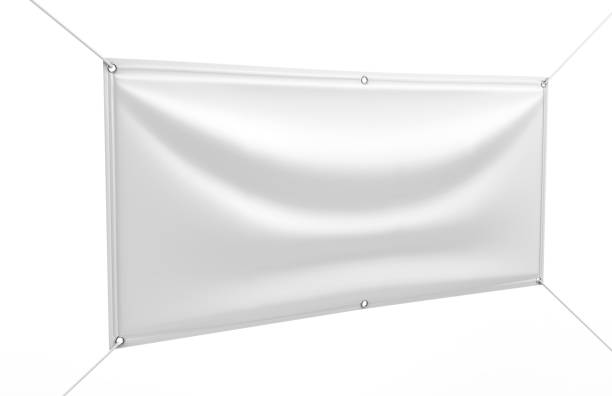 white vinyl horizontal banner. 3d render illustration. - vinyl banner mockup stock photos and pictures