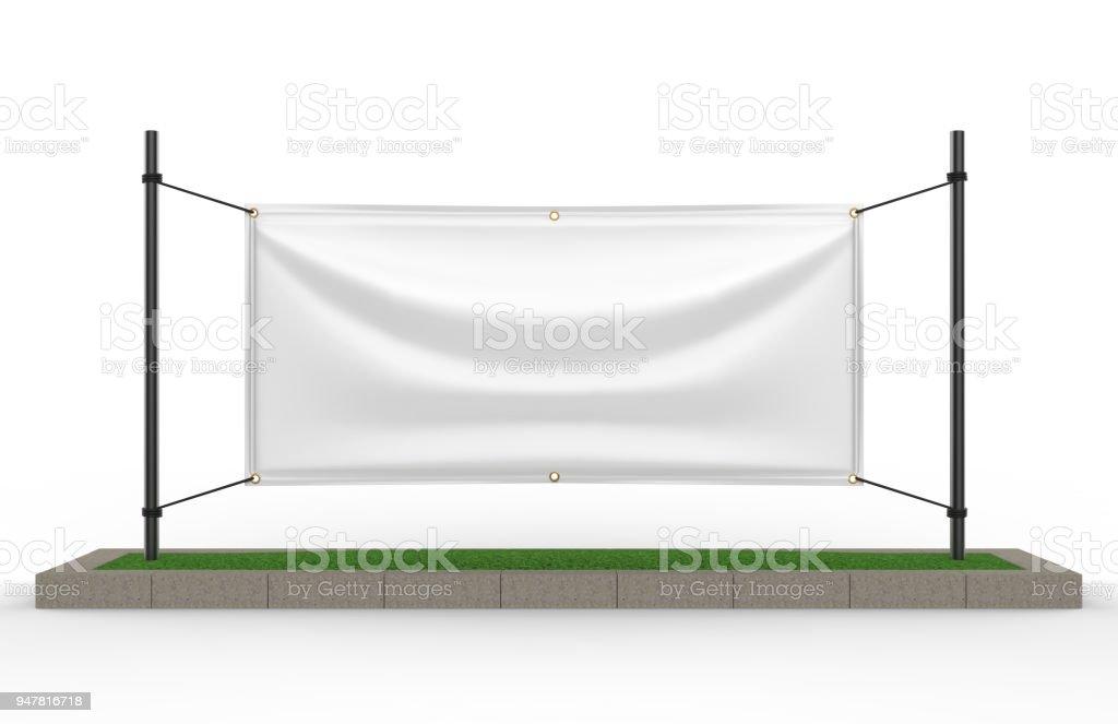 White Vinyl Horizontal Banner for design presantation. 3d render illustration. stock photo