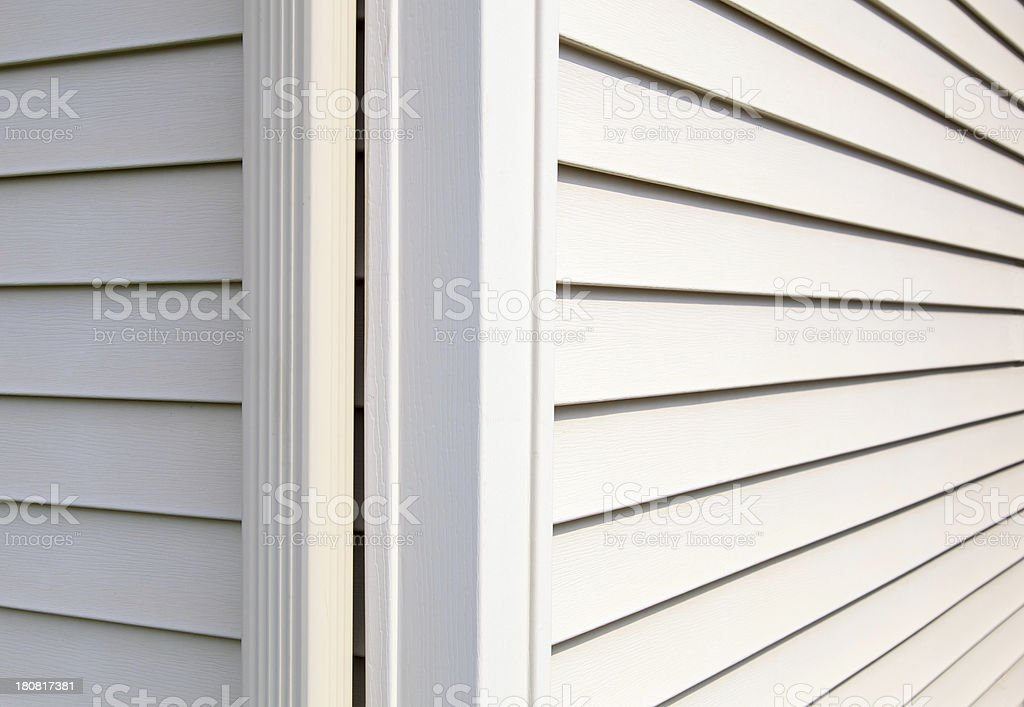 White Vinyl Siding and Guttering royalty-free stock photo