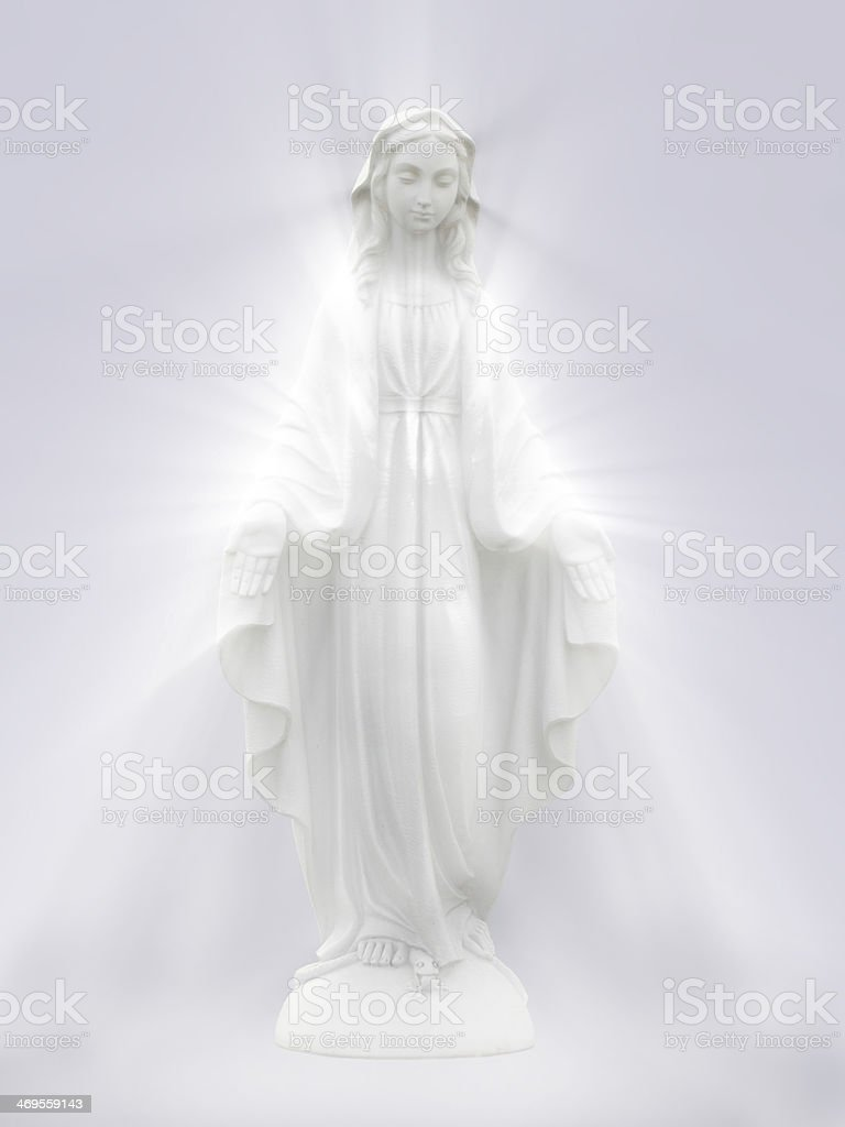 White Virgin Mary statue on white background stock photo