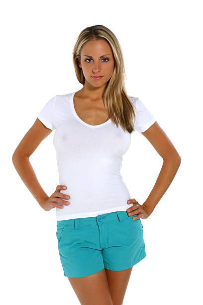 White V-neck T-shirt stock photo