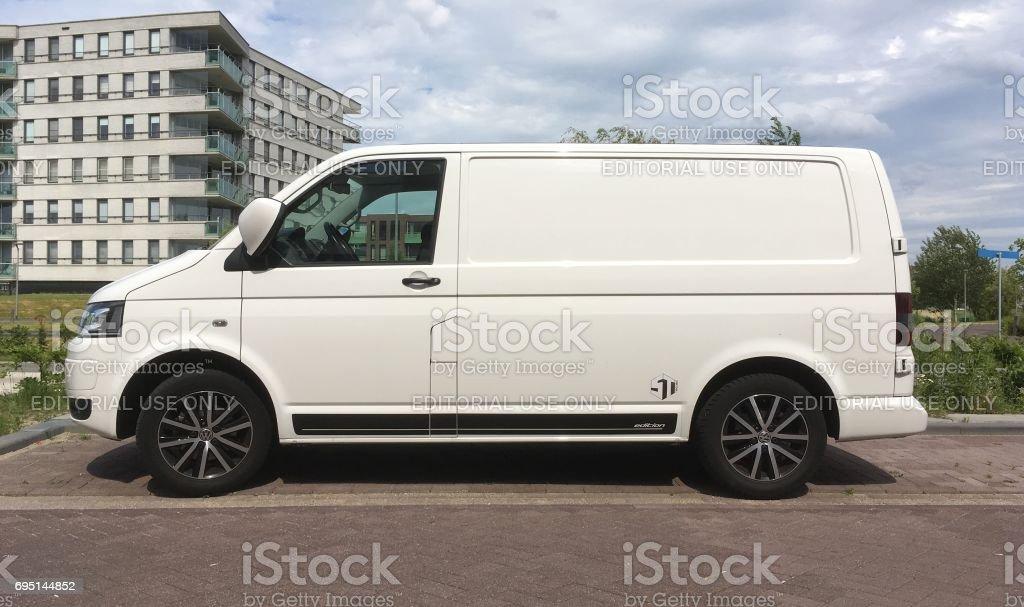 White Volkswagen Transporter stock photo