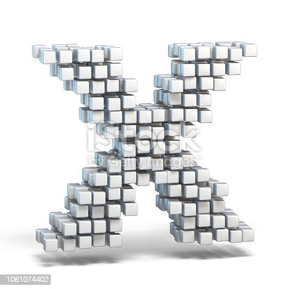 848178088istockphoto White voxel cubes font Letter X 3D 1061074402
