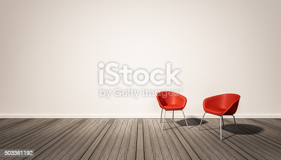 istock white wall and dark wood floor, with red chairs 503361192