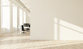 Concept for new office: White wall at ofice hall 3d rendering interior