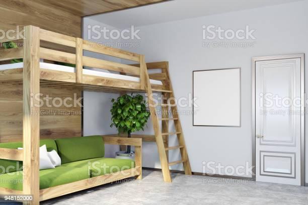 Weisse Wand Schlafzimmer Ecke Grune Hochbett Poster Stockfoto Und Mehr Bilder Von Behaglich Istock