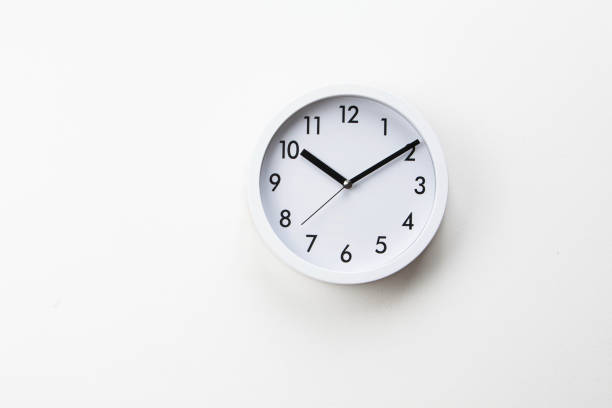 White wall clock on white background White wall clock on white background clock hand stock pictures, royalty-free photos & images