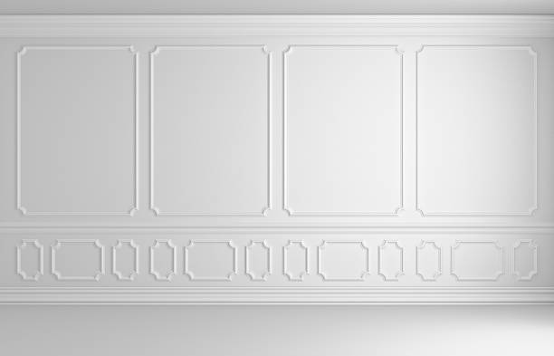 white wall in classic style colorless empty room - classical style stock photos and pictures