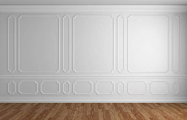 white wall in classic style empty room architectural background - classical style stock photos and pictures
