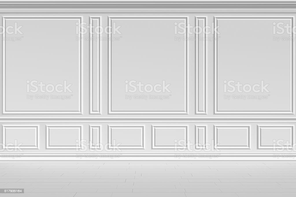 White wall in classic style stock photo